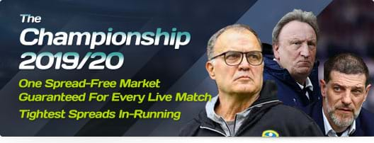 The Championship 2019/20 - One Spread-Free Market Guaranteed For Every Live Match | Tightest Spreads In-Running